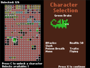 Screenshot of Great Dungeon in the Sky's character selection screen