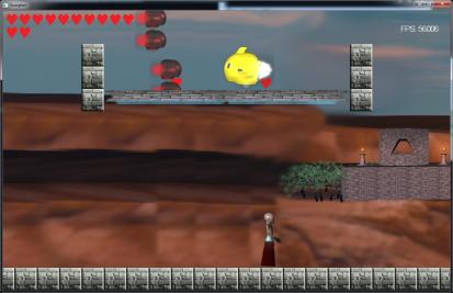 Heretics screenshot - platform above has powerups!