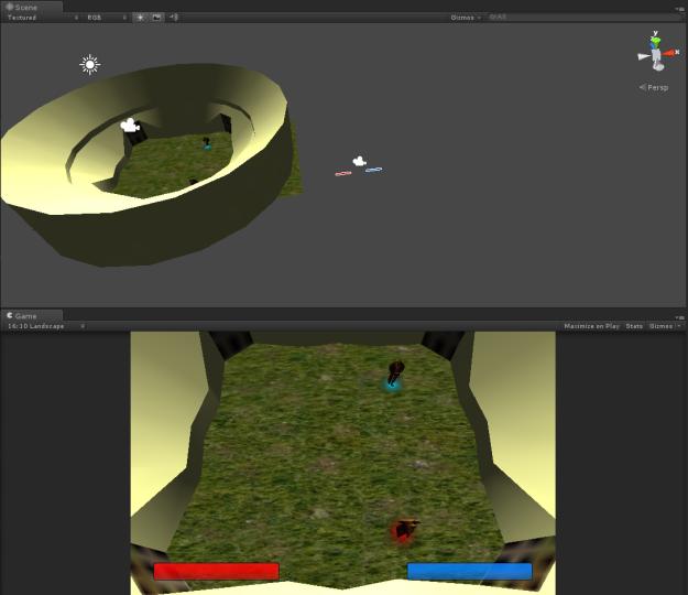 Unity3D scene view of Hack n Slash WIP prototype